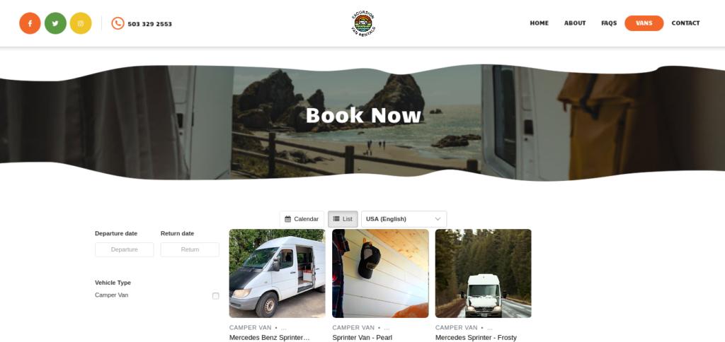 Excursion Van Rentals - Book Now